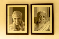 Portraits de La Mère et de Sri Aurobindo, fondateurs d'Auroville